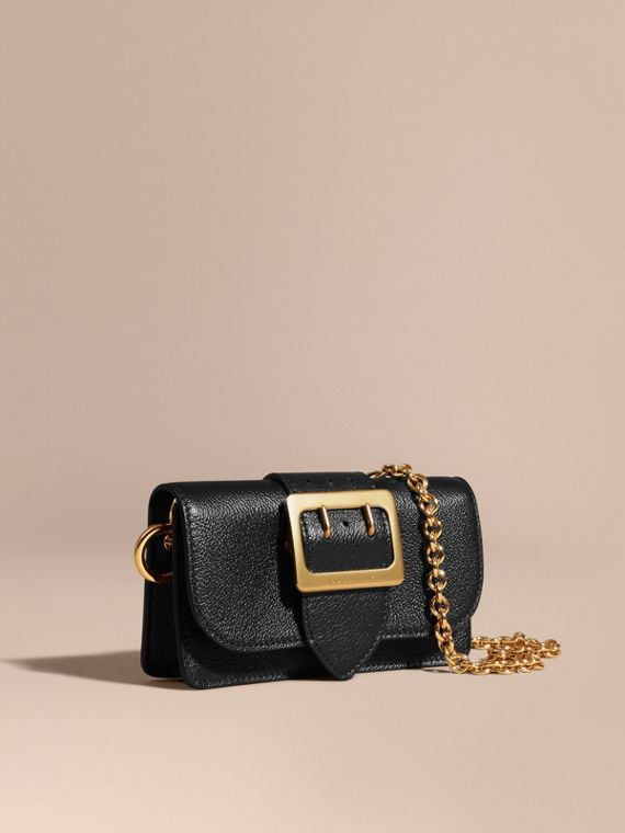 The Mini Buckle Bag in Grainy Leather Black