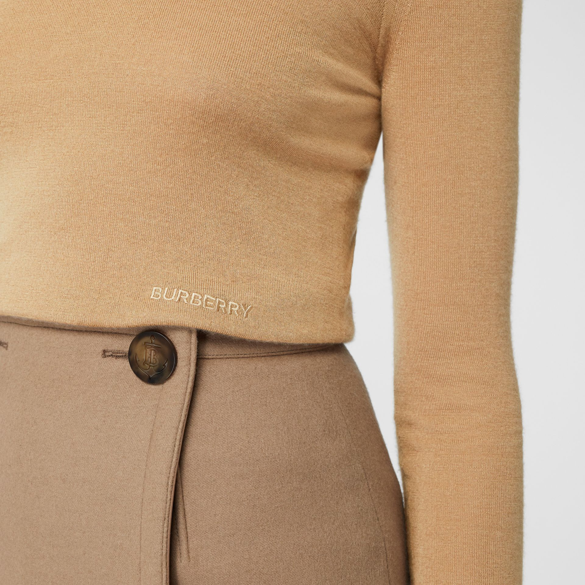 Embroidered Logo Cashmere Silk Roll-neck Sweater in Archive Beige - Women | Burberry - gallery image 1