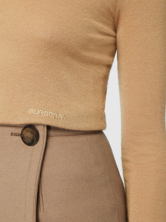 Embroidered Logo Cashmere Silk Roll-neck Sweater in Archive Beige - Women | Burberry - cell image 1