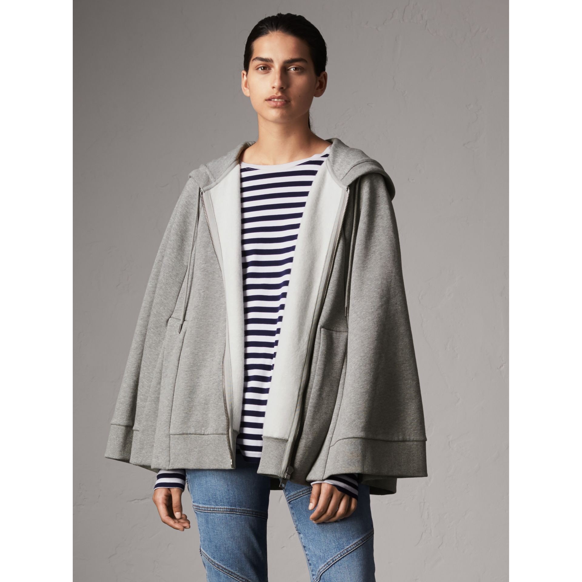 Jersey Hooded Cape in Pale Grey Melange - Women | Burberry United Kingdom - gallery image 5