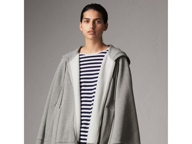 Jersey Hooded Cape in Pale Grey Melange - Women | Burberry United Kingdom - cell image 4