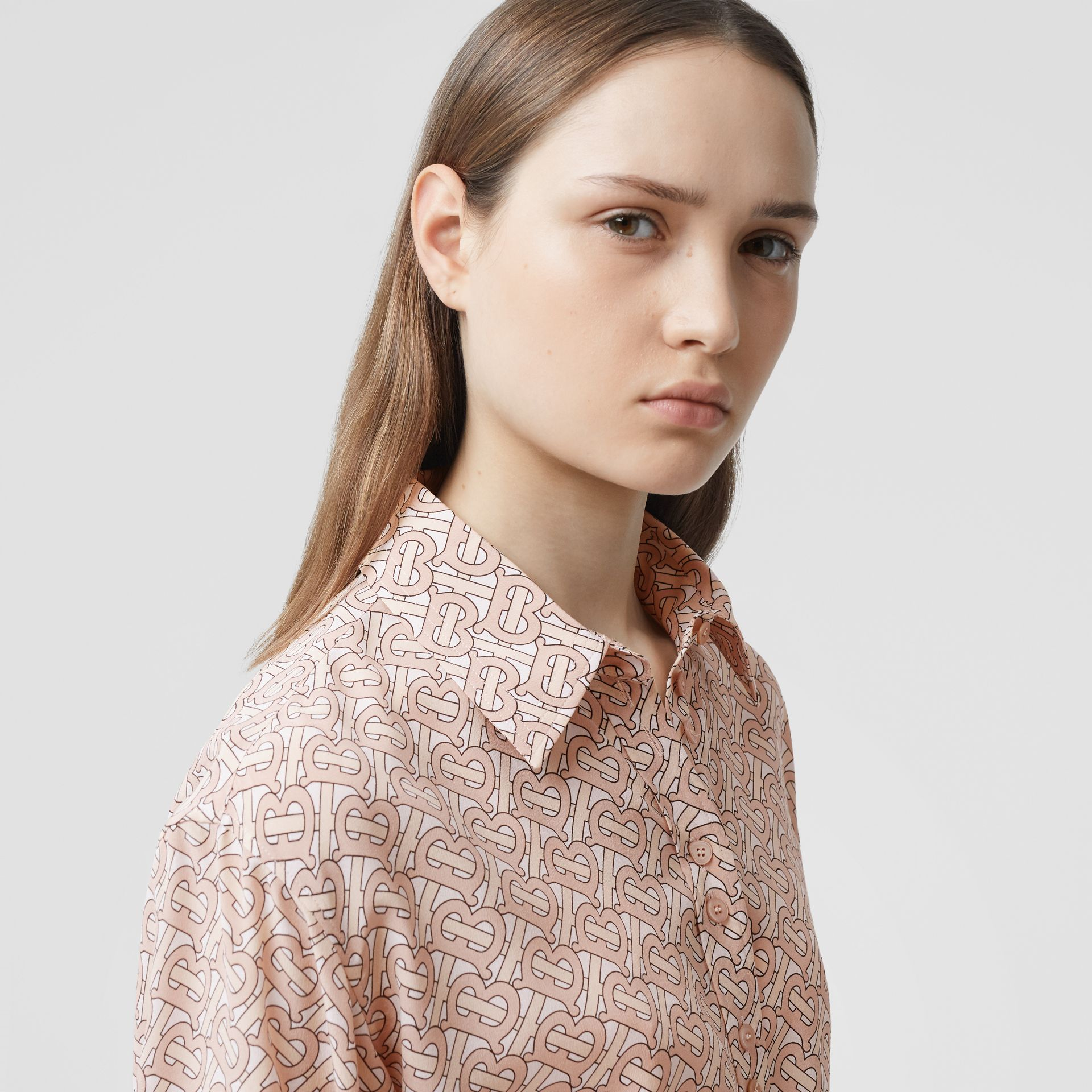 Monogram Print Silk Crepe De Chine Shirt Dress in Pale Copper Pink - Women | Burberry - gallery image 1