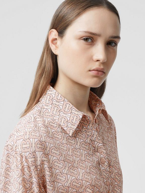 Monogram Print Silk Crepe De Chine Shirt Dress in Pale Copper Pink - Women | Burberry - cell image 1