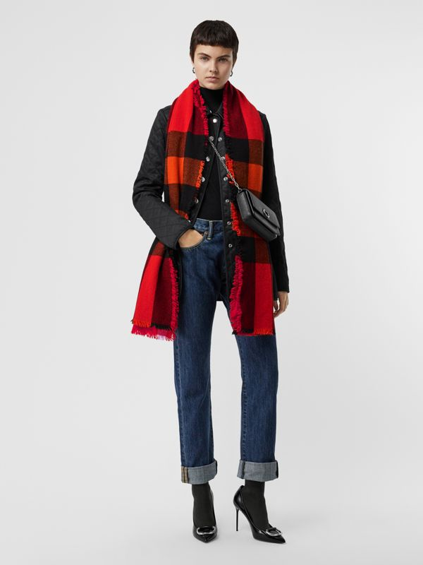 Fringed Check Wool Cashmere Scarf in Bright Orange Red | Burberry United States - cell image 2