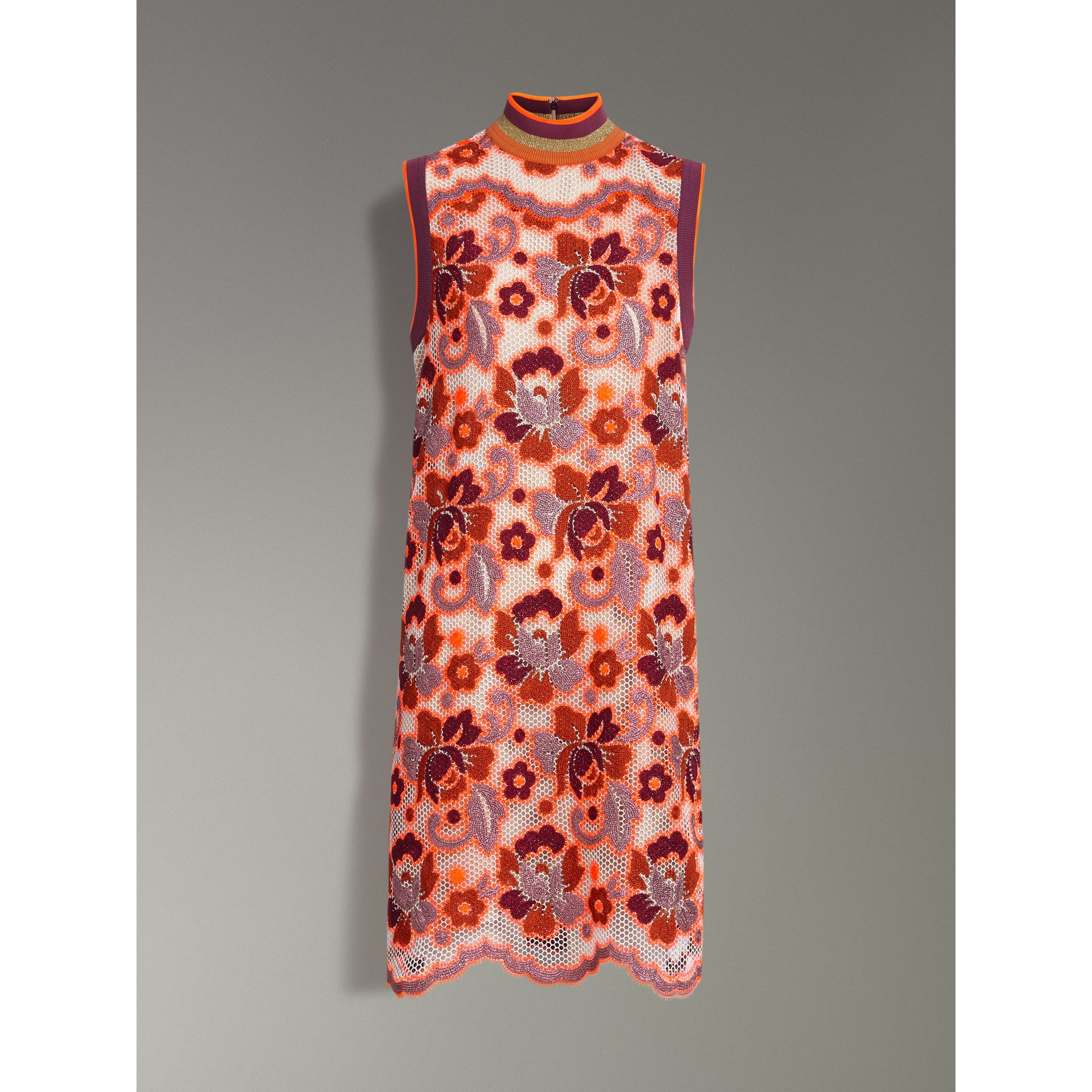 Floral Crochet Shift Dress in Bright Orange - Women | Burberry United Kingdom - gallery image 3