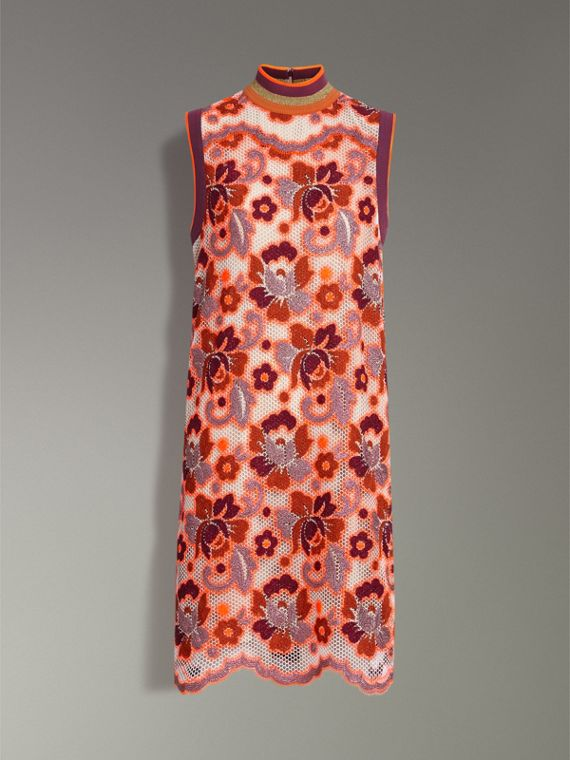 Floral Crochet Shift Dress in Bright Orange - Women | Burberry United Kingdom - cell image 3