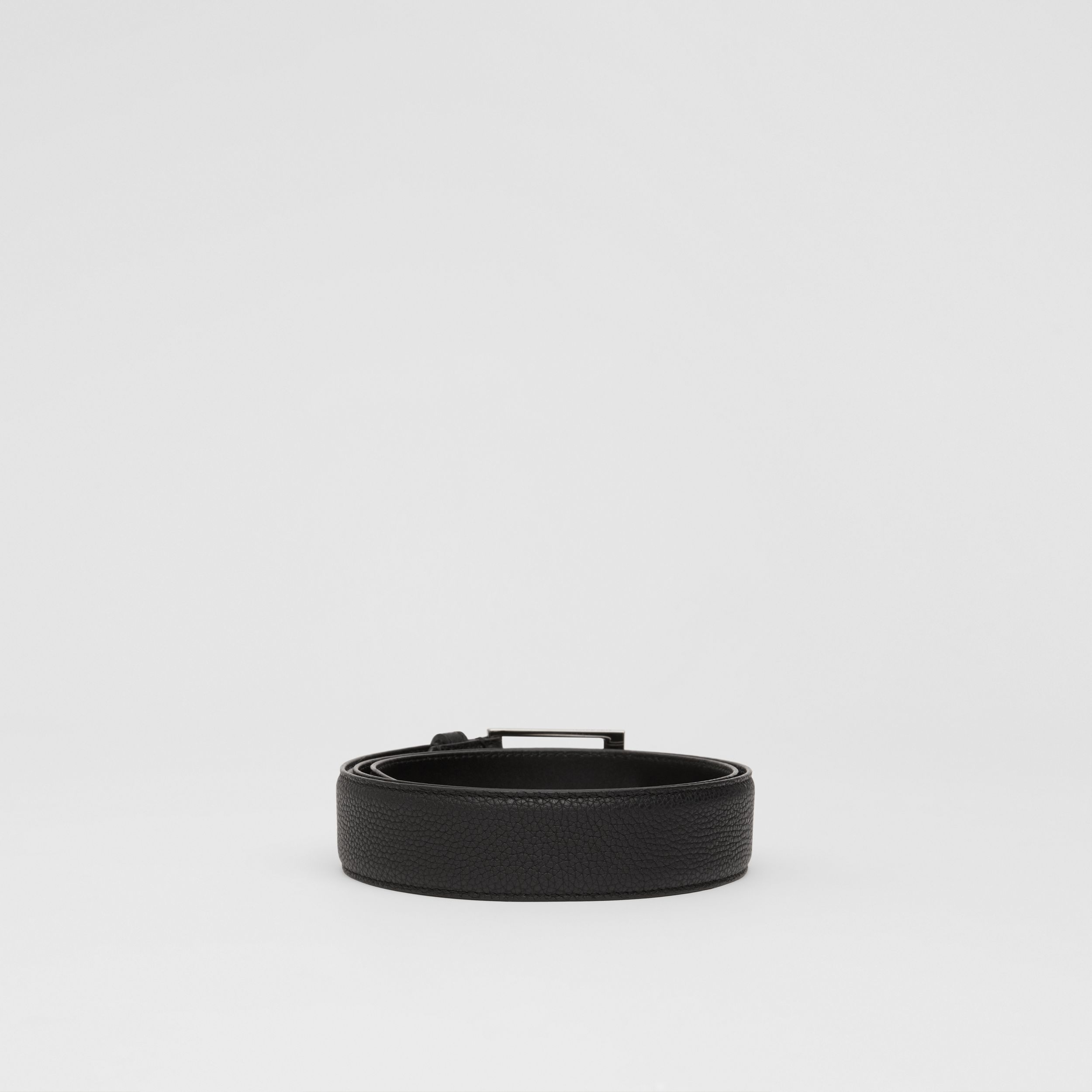 Grainy Leather Belt in Black - Men | Burberry Singapore - 4