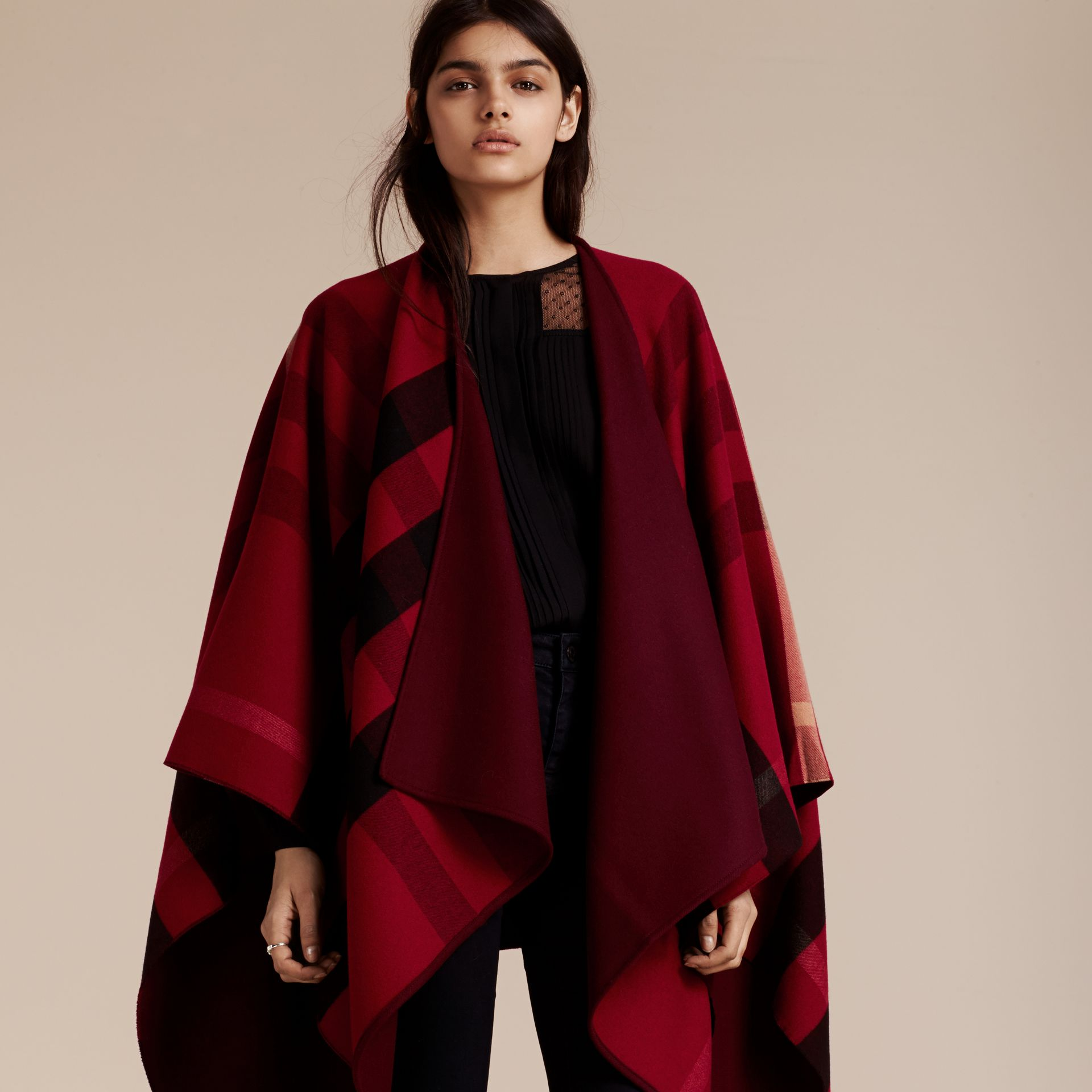 Reversible Check Merino Wool Poncho Parade Red - gallery image 3