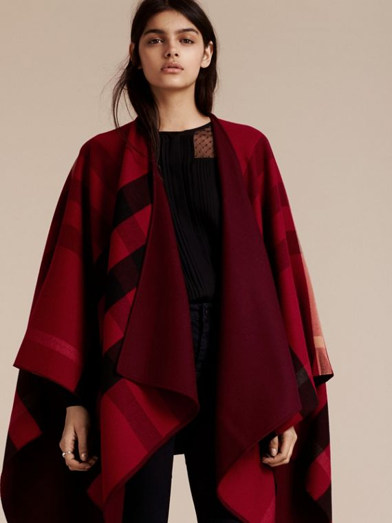 Reversible Check Merino Wool Poncho in Parade Red - cell image 2