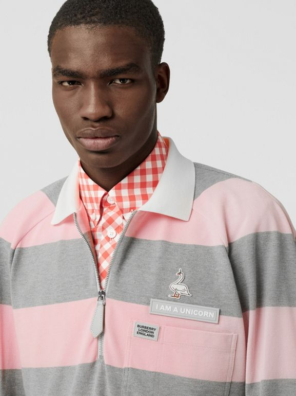 Long-sleeve Zip Detail Striped Cotton Polo Shirt in Pale Pink | Burberry - cell image 1