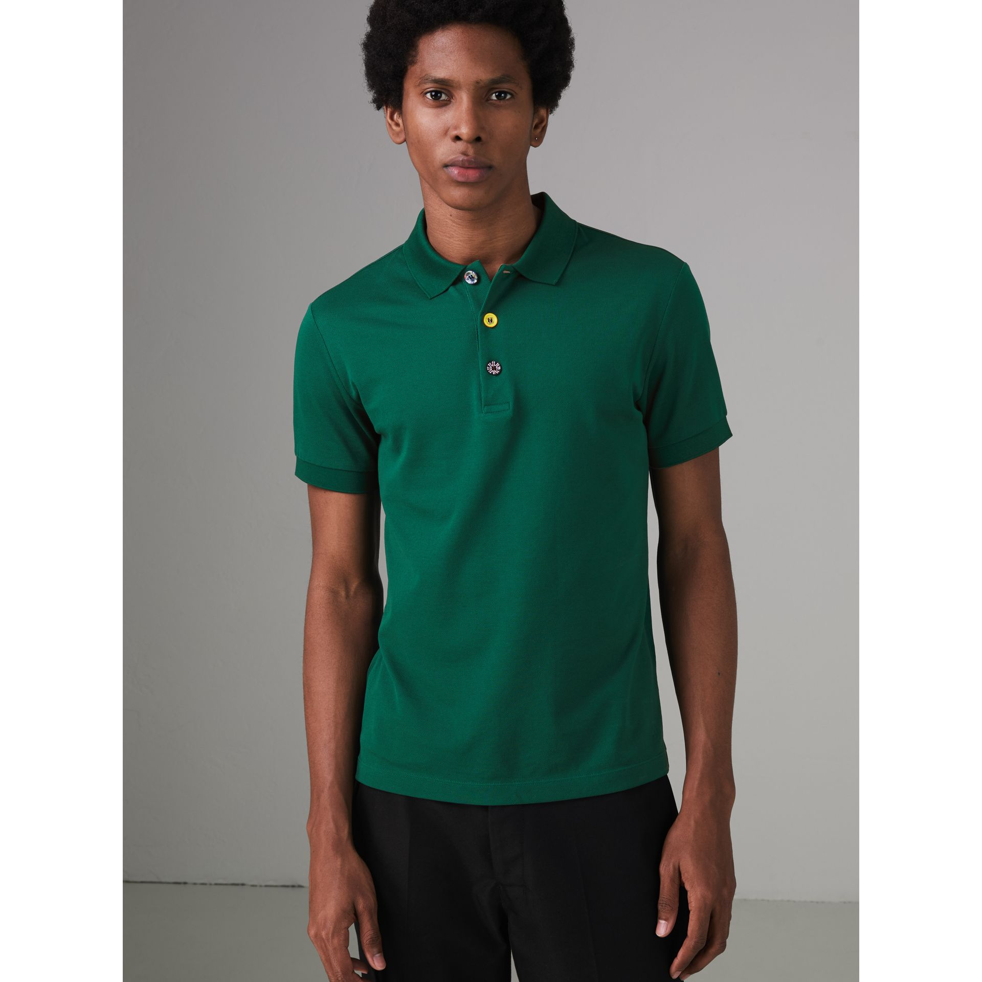 Painted Button Cotton Piqué Polo Shirt in Opal Green - Men | Burberry - gallery image 4