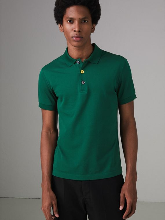 Painted Button Cotton Piqué Polo Shirt in Opal Green