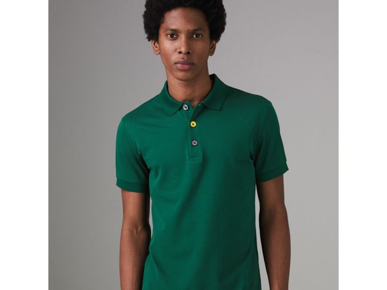 Painted Button Cotton Piqué Polo Shirt in Opal Green - Men | Burberry - cell image 4