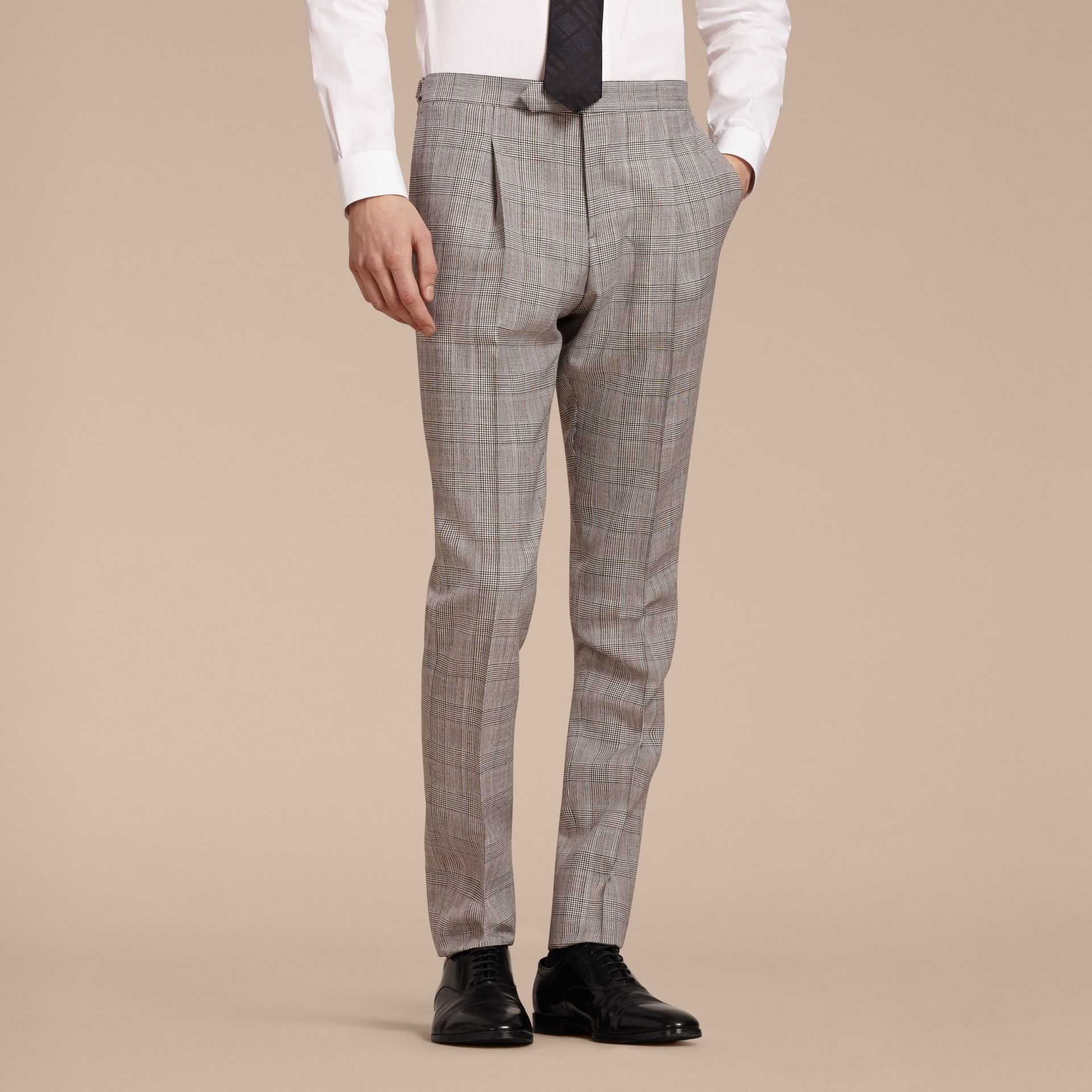 Pale grey Slim Fit Prince of Wales Check Wool Half-canvas Suit - gallery image 9