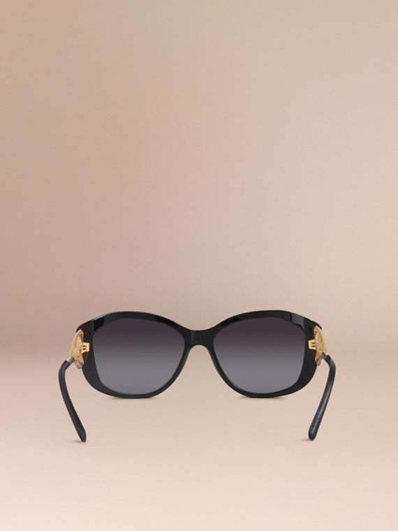Black Gabardine Collection Square Frame Sunglasses Black - cell image 2