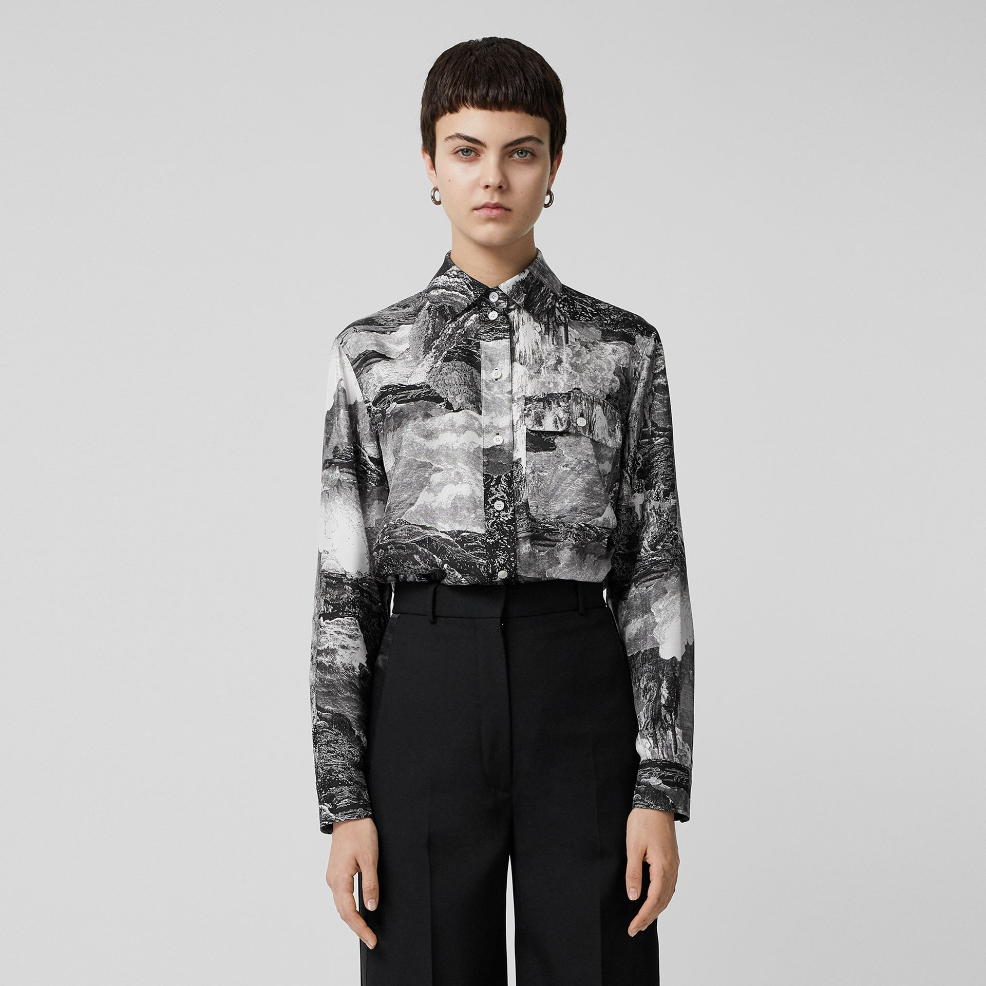 Dreamscape Print Silk Longline Shirt in Black - Women | Burberry Canada - gallery image 6