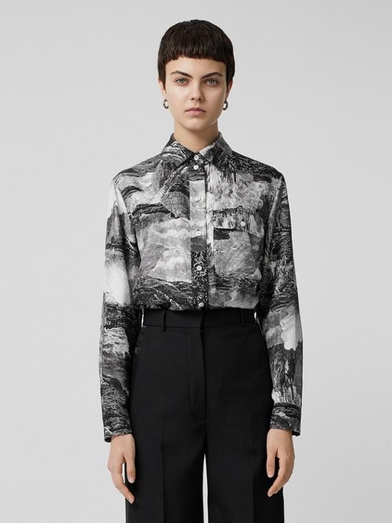 Lange Bluse aus Seide mit Fantasielandschaft (Schwarz)