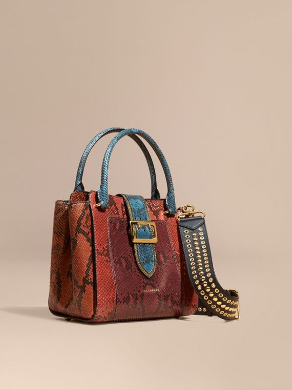 The Medium Buckle Tote in Colour-block Python Burgundy Red