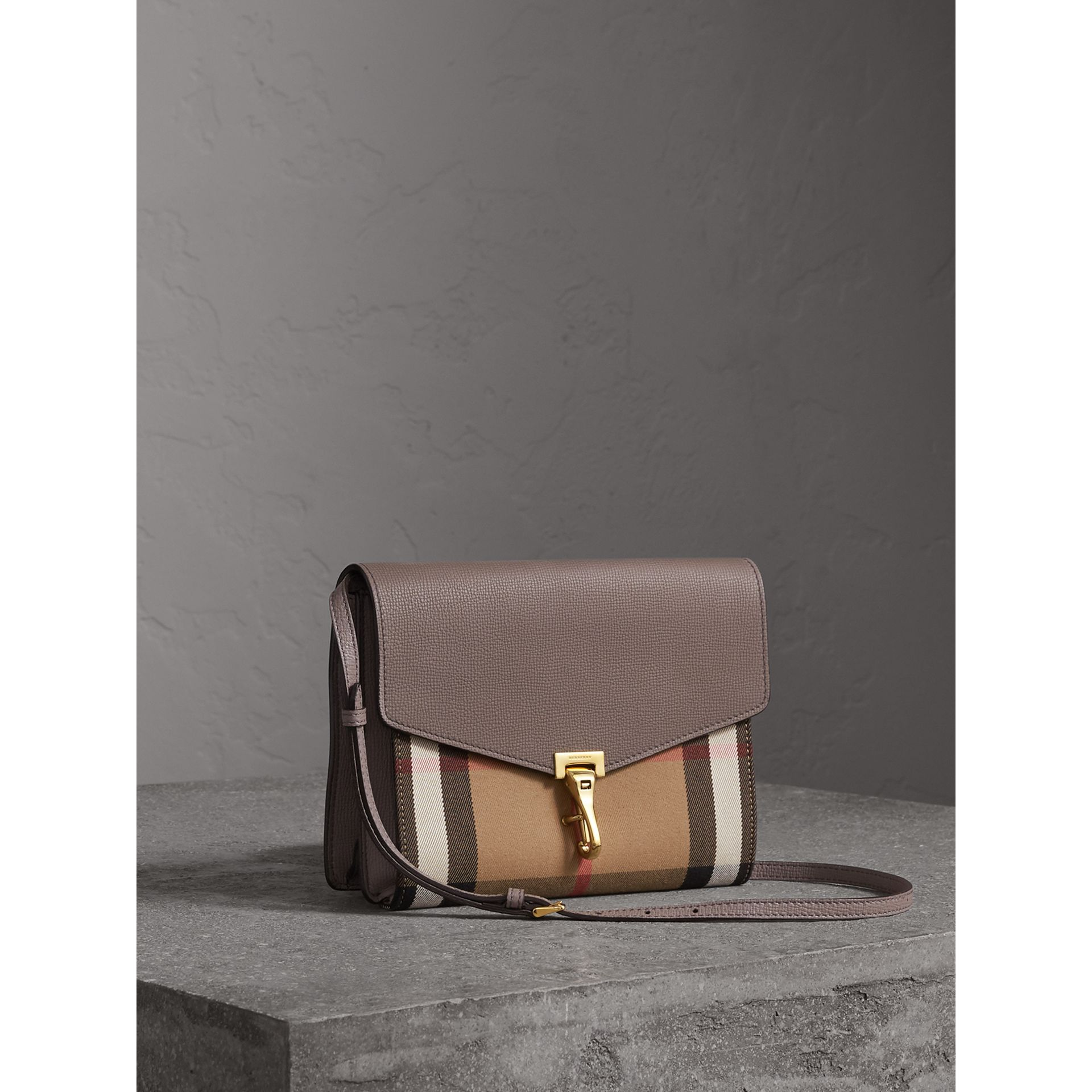 Small Leather and House Check Crossbody Bag in Thistle Grey - gallery image 6