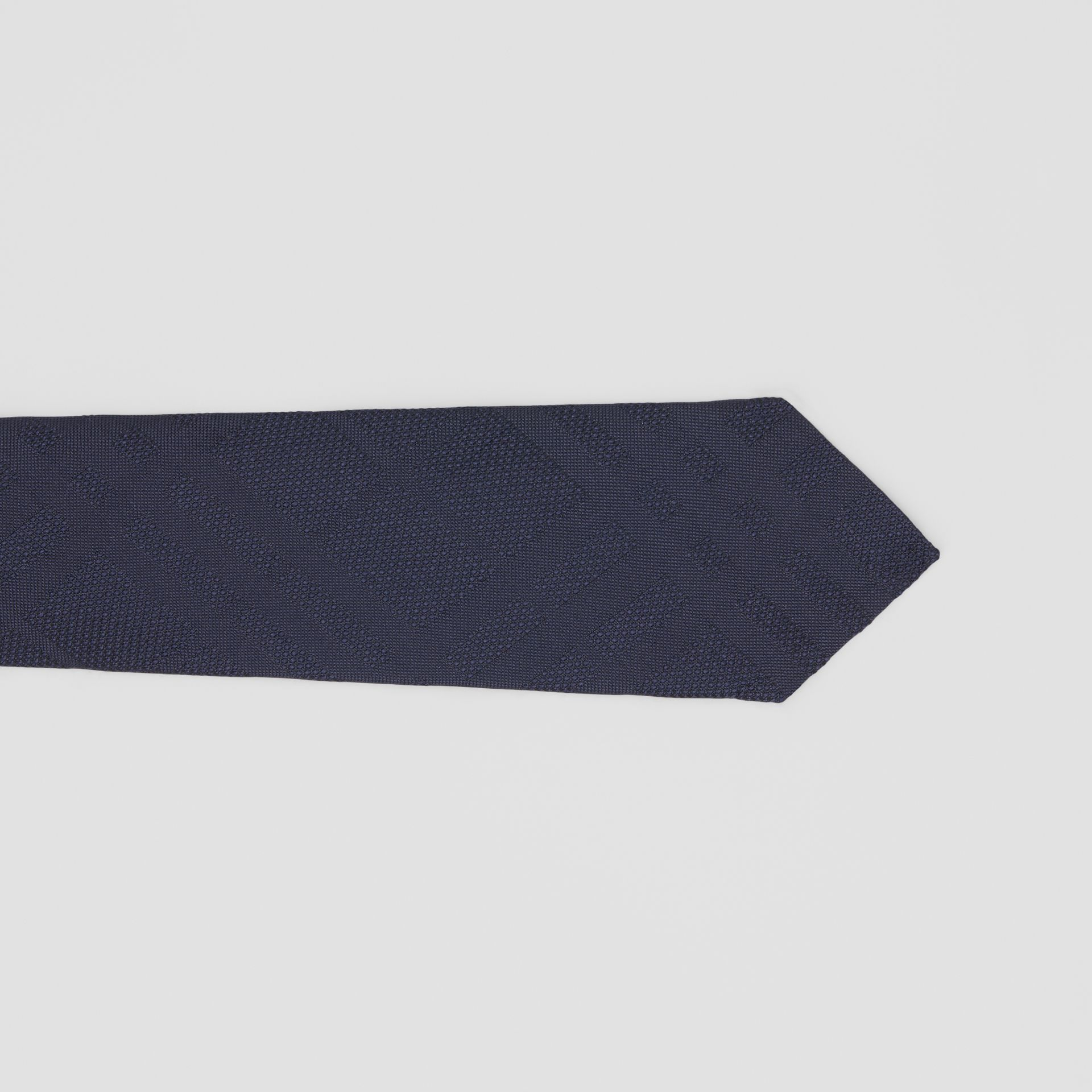 Classic Cut Check Silk Jacquard Tie in Navy - Men | Burberry United Kingdom - gallery image 1