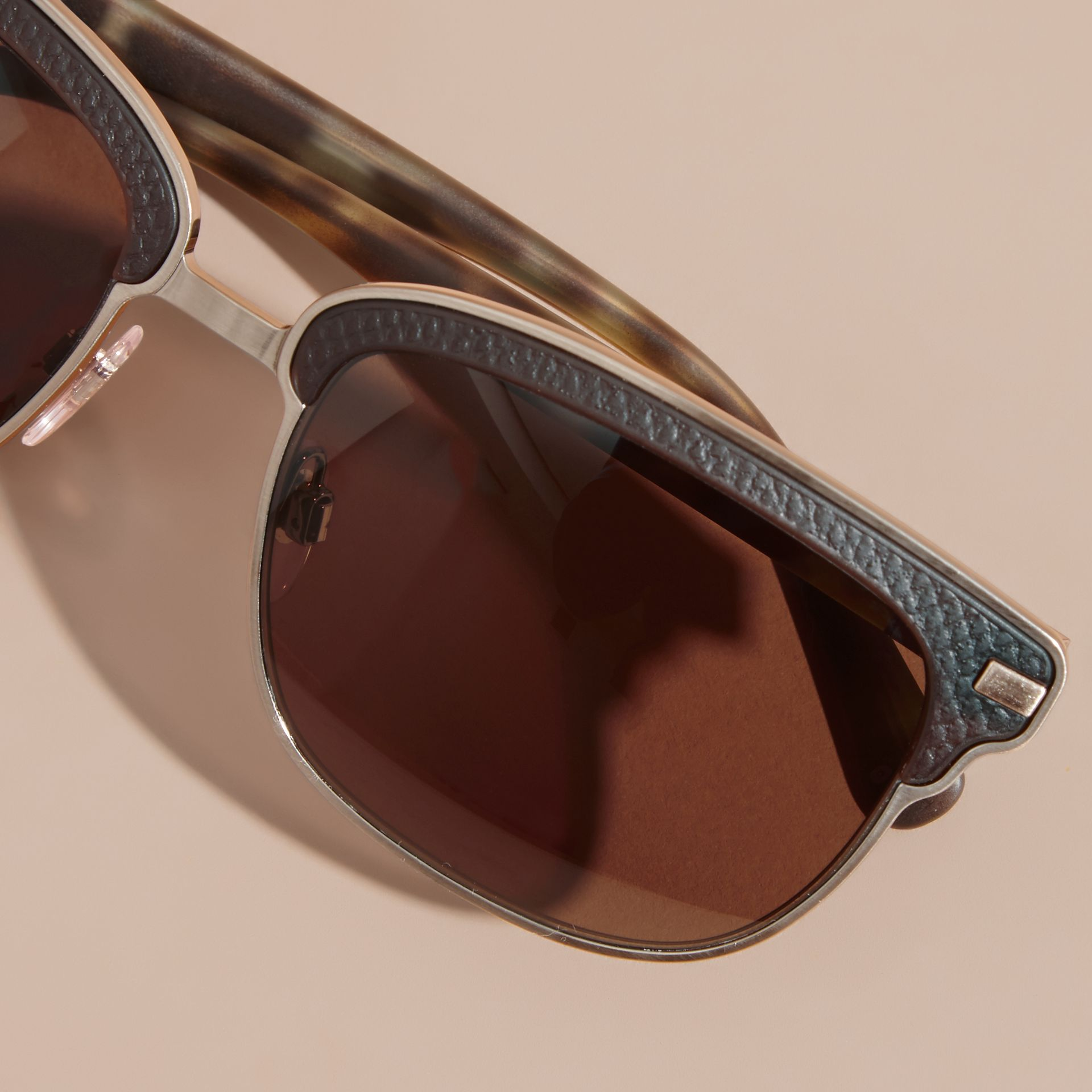 Textured Front Square Frame Sunglasses in Brown - Men | Burberry Hong Kong - gallery image 5
