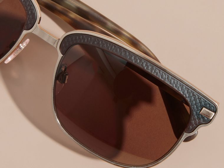 Textured Front Square Frame Sunglasses in Brown - Men | Burberry Singapore - cell image 4