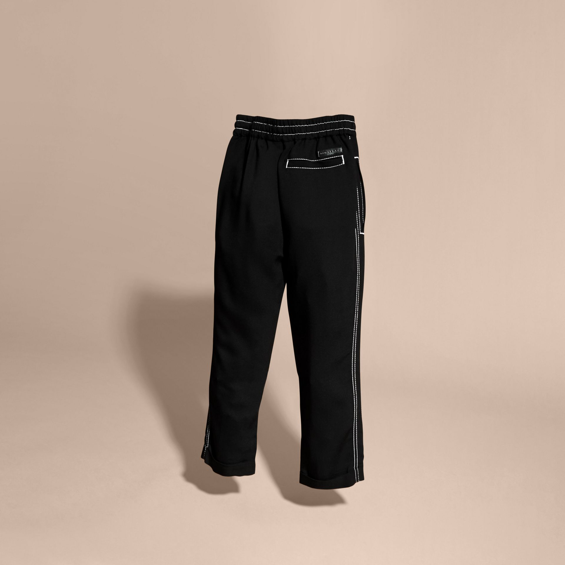 Black Topstitched Track Pants - gallery image 4