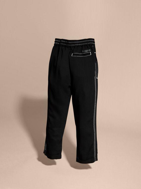 Black Topstitched Track Pants - cell image 3