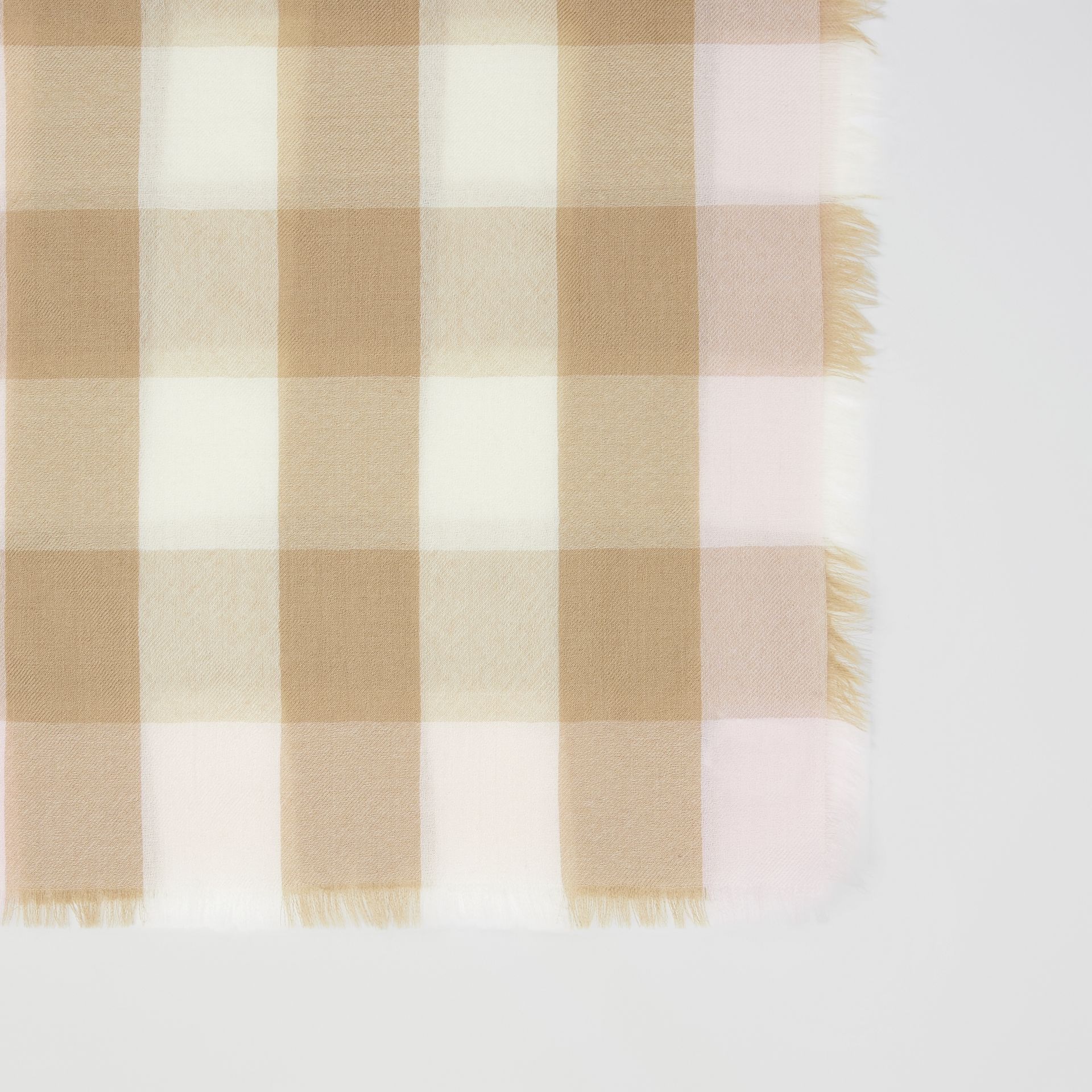 Lightweight Check Cashmere Scarf in Alabaster | Burberry - gallery image 1