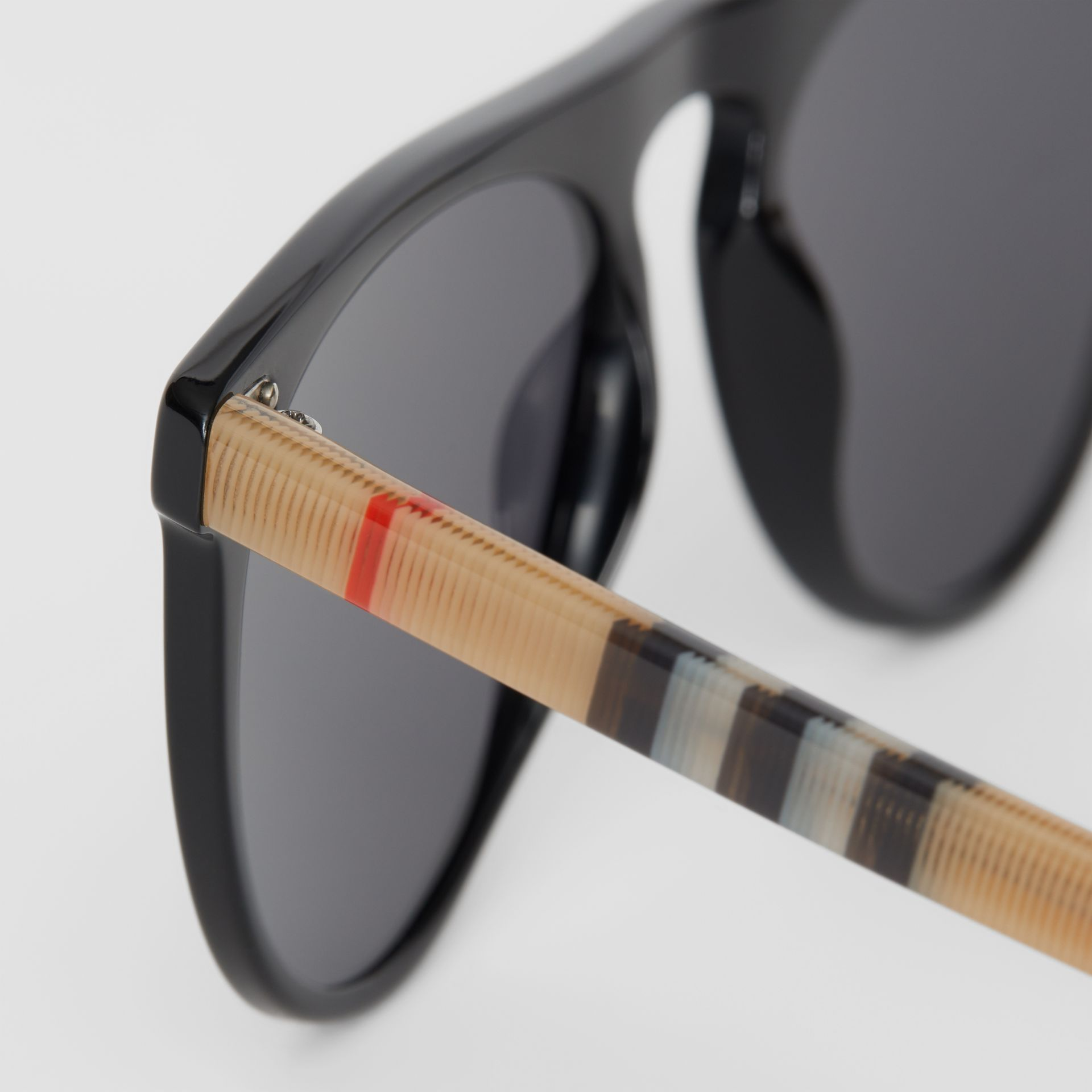 Vintage Check Detail Keyhole D-shaped Sunglasses in Black/beige - Men | Burberry - gallery image 1