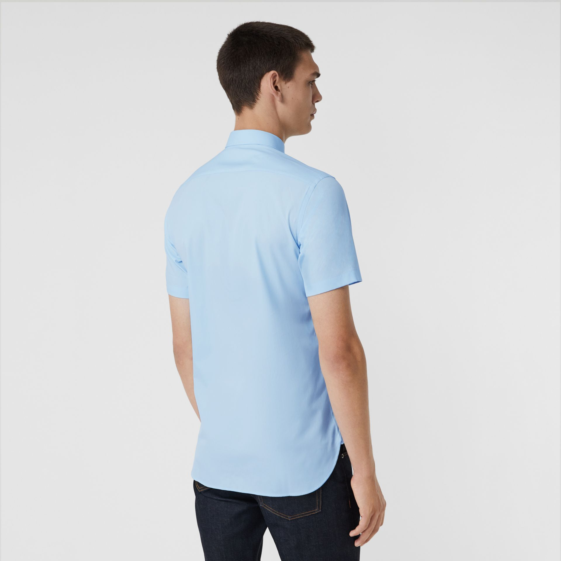 Short-sleeve Stretch Cotton Shirt in Pale Blue - Men | Burberry - gallery image 2