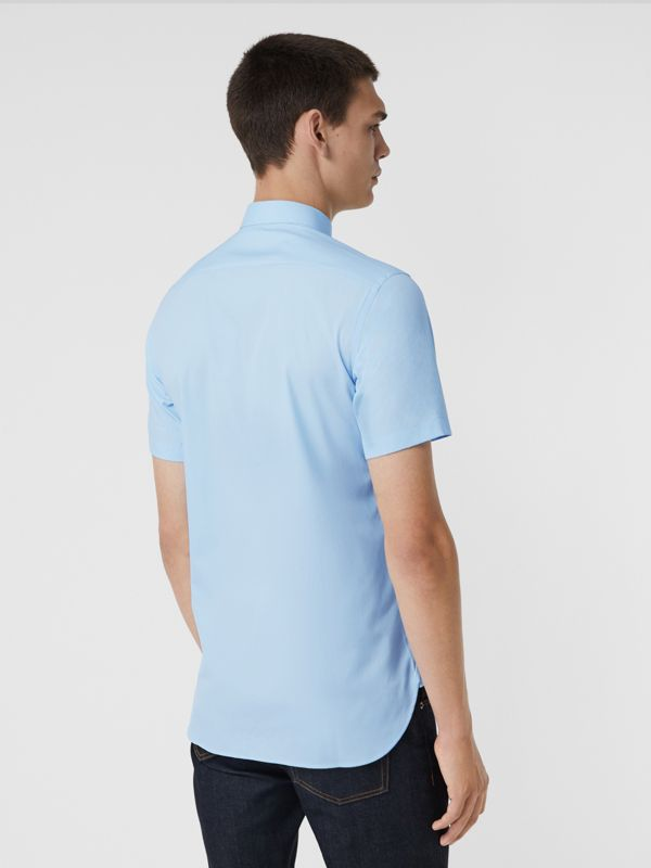 Short-sleeve Stretch Cotton Shirt in Pale Blue - Men | Burberry Hong Kong - cell image 2