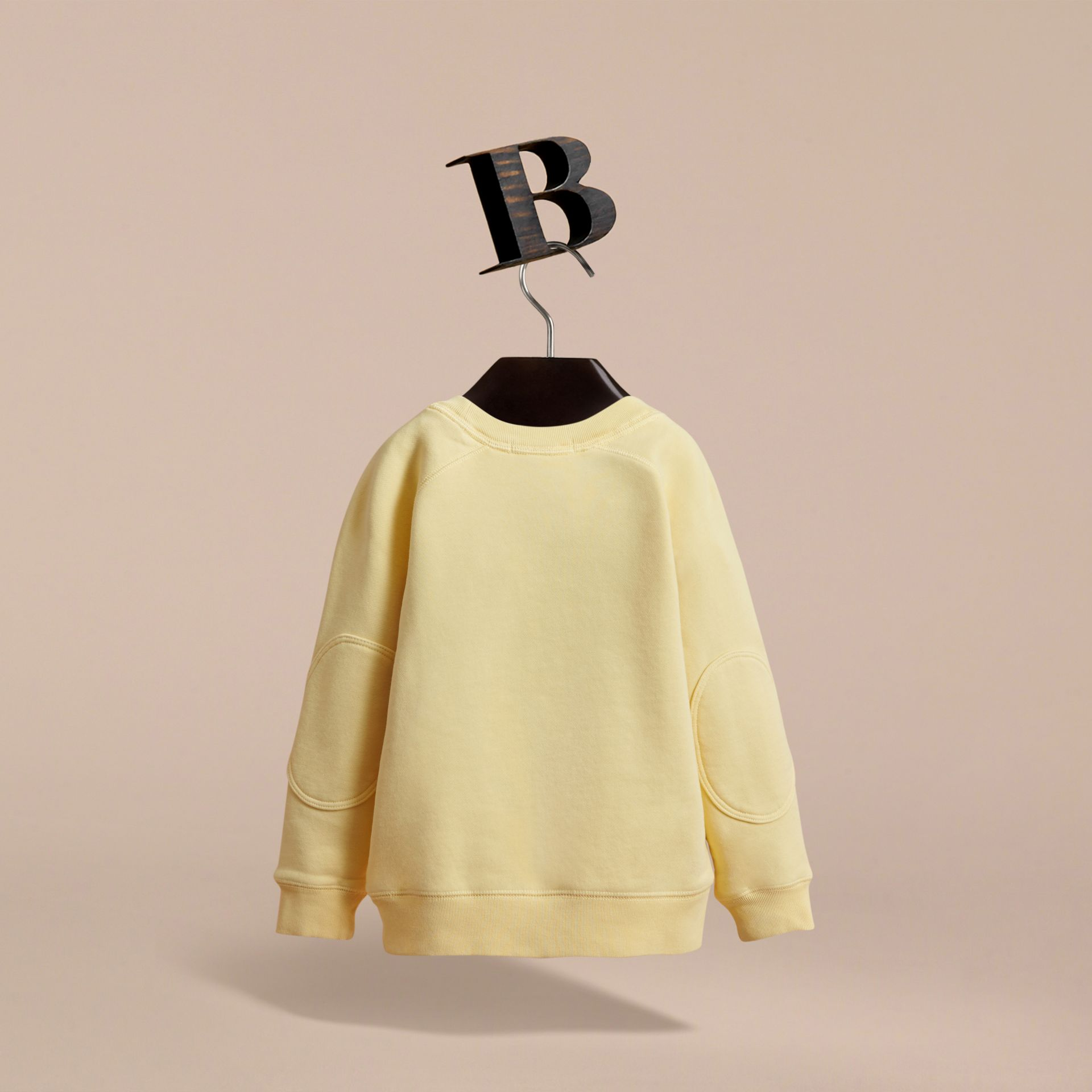 Pigment-dyed Cotton Jersey Sweatshirt in Pale Yellow - Boy | Burberry - gallery image 4