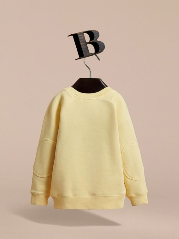 Pigment-dyed Cotton Jersey Sweatshirt in Pale Yellow - Boy | Burberry - cell image 3