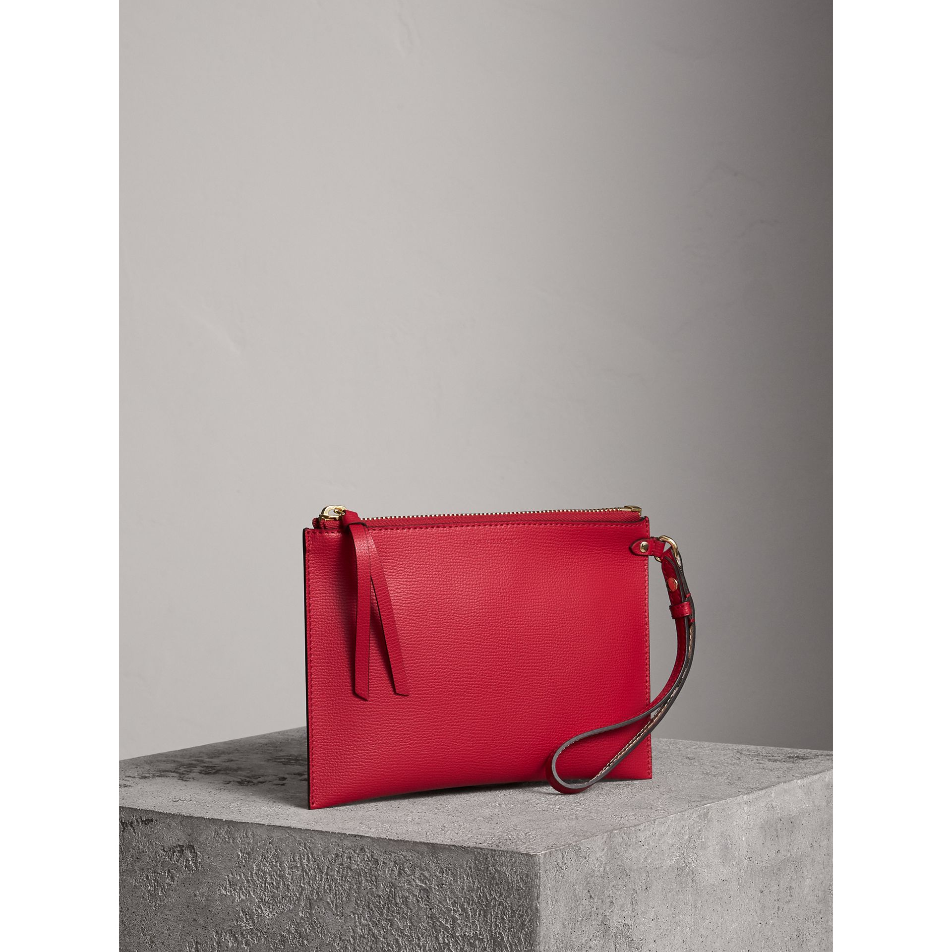 Haymarket Check and Leather Pouch in Poppy Red - Women | Burberry - gallery image 6
