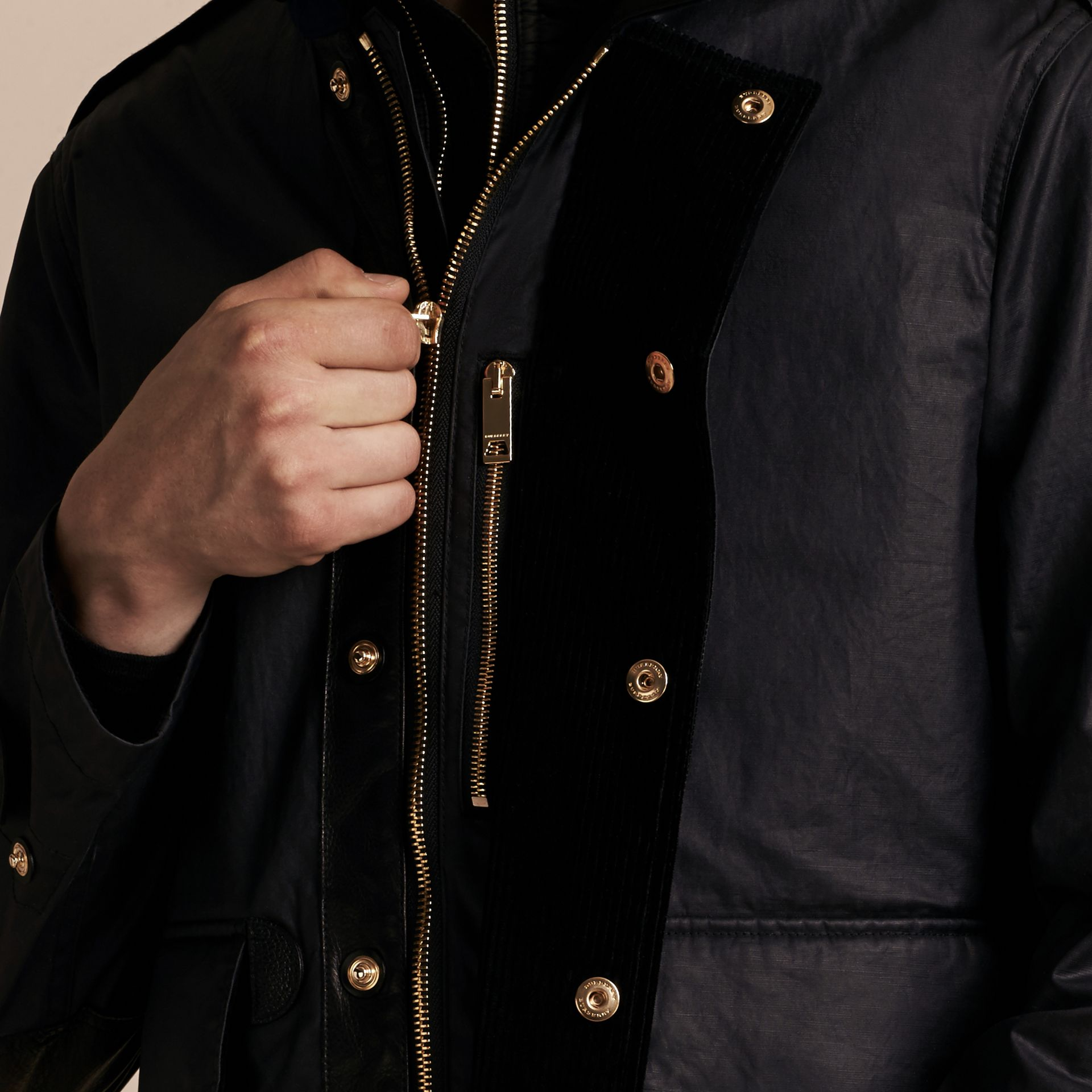 Dark navy Hooded Waxed Cotton Linen Jacket with Detachable Warmer - gallery image 7