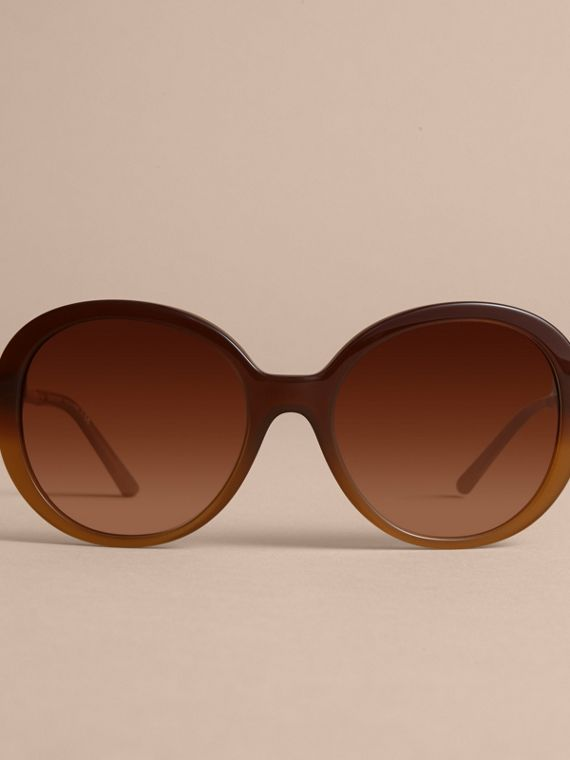 Check Detail Round Frame Sunglasses in Amber - Women | Burberry - cell image 2