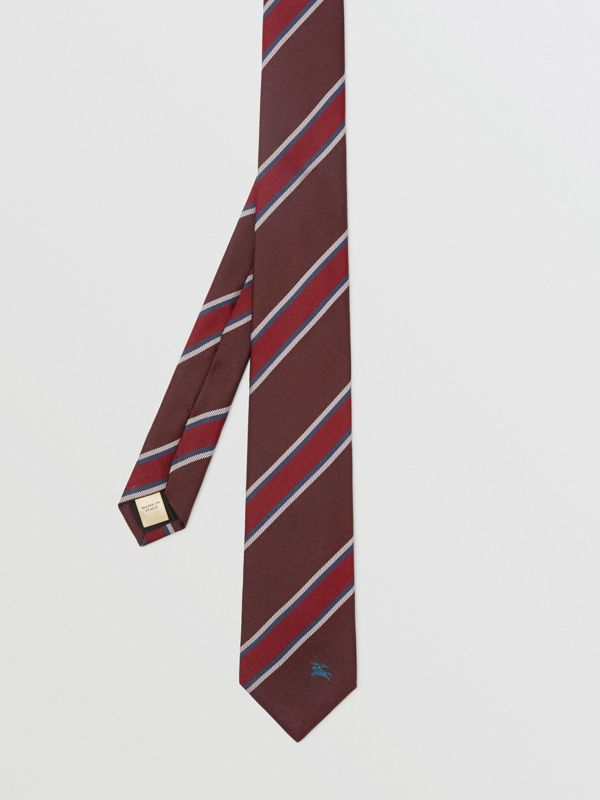 Modern Cut Striped Silk Jacquard Tie in Oxblood - Men | Burberry - cell image 3