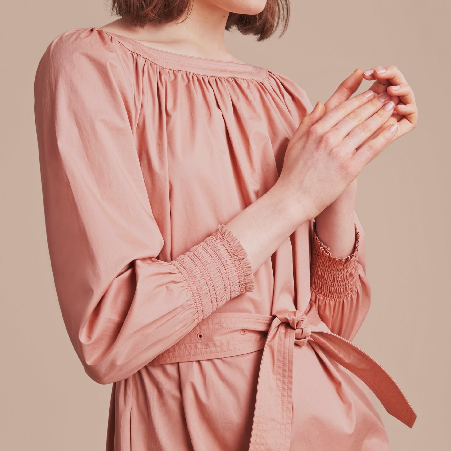 Smocked Cuff Stretch Cotton Dress - gallery image 5