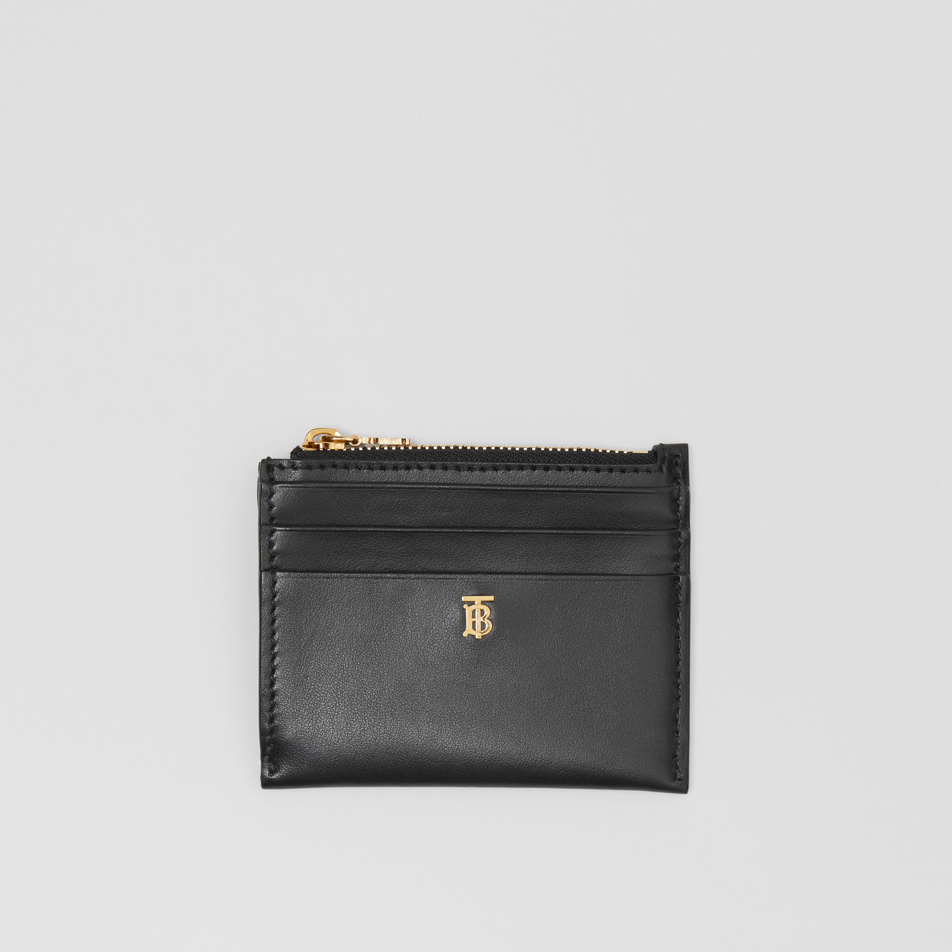 Monogram Motif Leather Zip Card Case in Black - Women | Burberry United States - gallery image 0