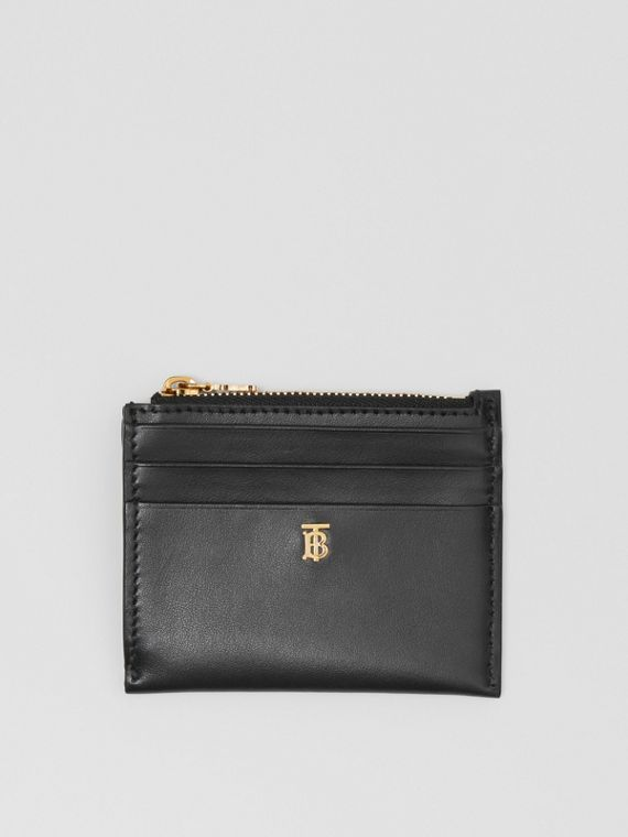 Monogram Motif Leather Zip Card Case in Black