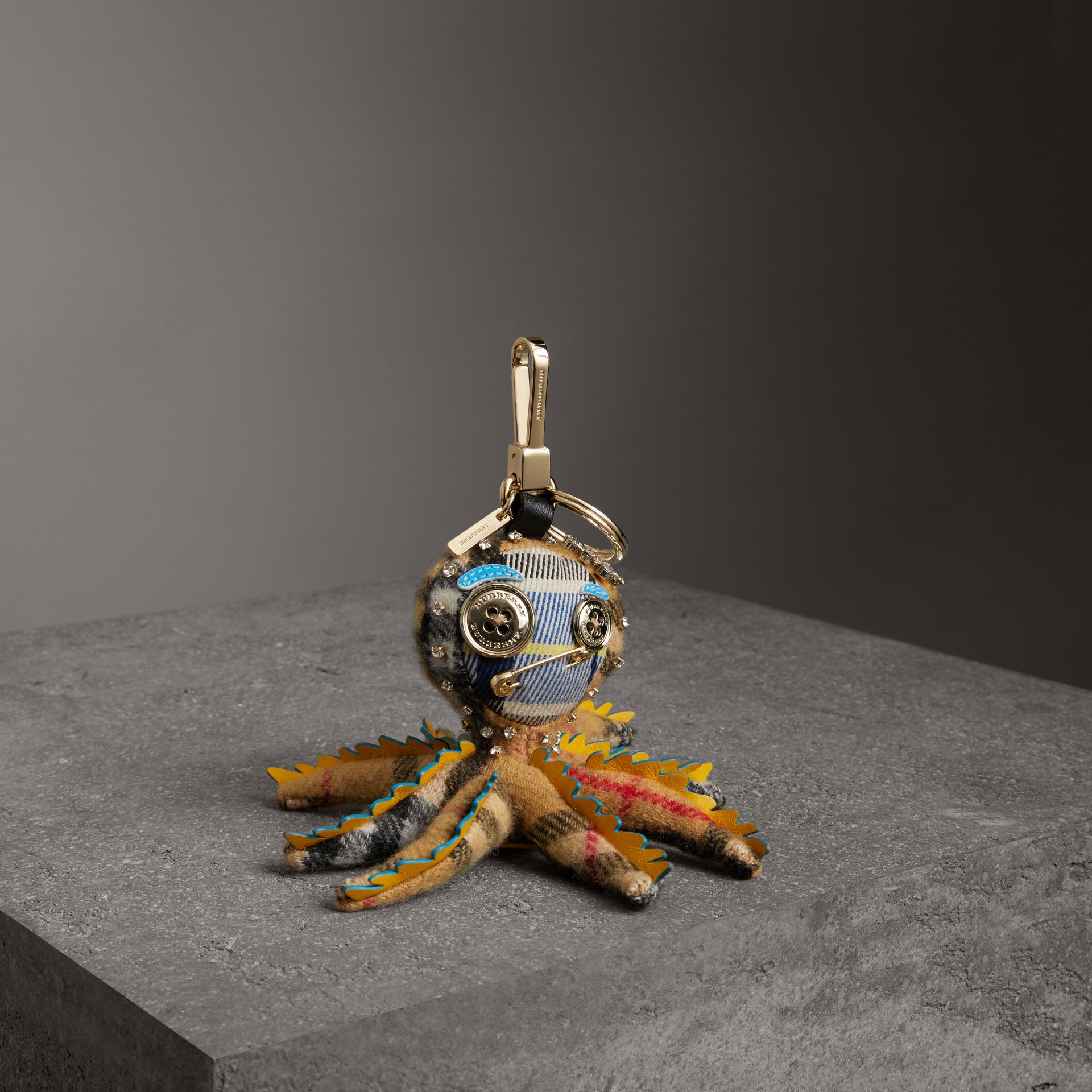 Sally The Octopus Cashmere Charm in Antique Yellow Multicolour | Burberry United Kingdom - gallery image 0