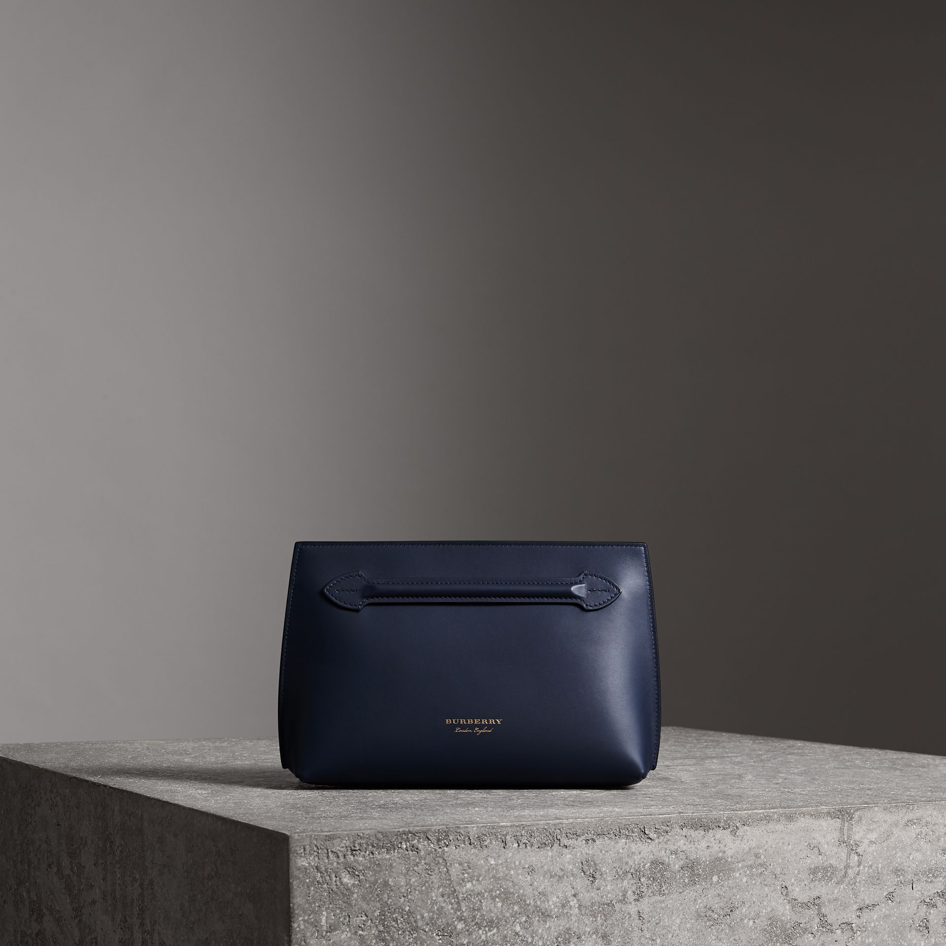 Leather Wristlet Clutch in Mid Indigo - Women | Burberry United States - gallery image 0