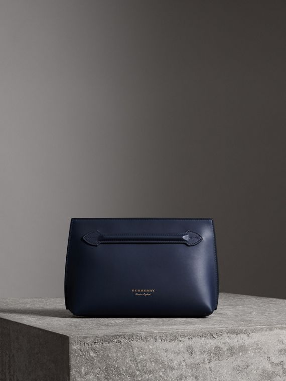 Leather Wristlet Clutch in Mid Indigo