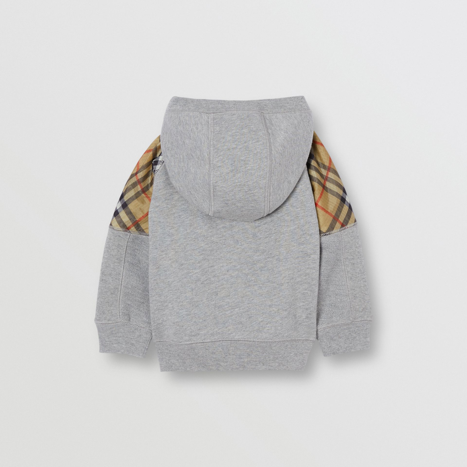 Vintage Check Panel Cotton Hooded Top in Grey Melange - Children | Burberry Australia - gallery image 3