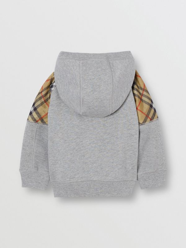 Vintage Check Panel Cotton Hooded Top in Grey Melange - Children | Burberry Australia - cell image 3