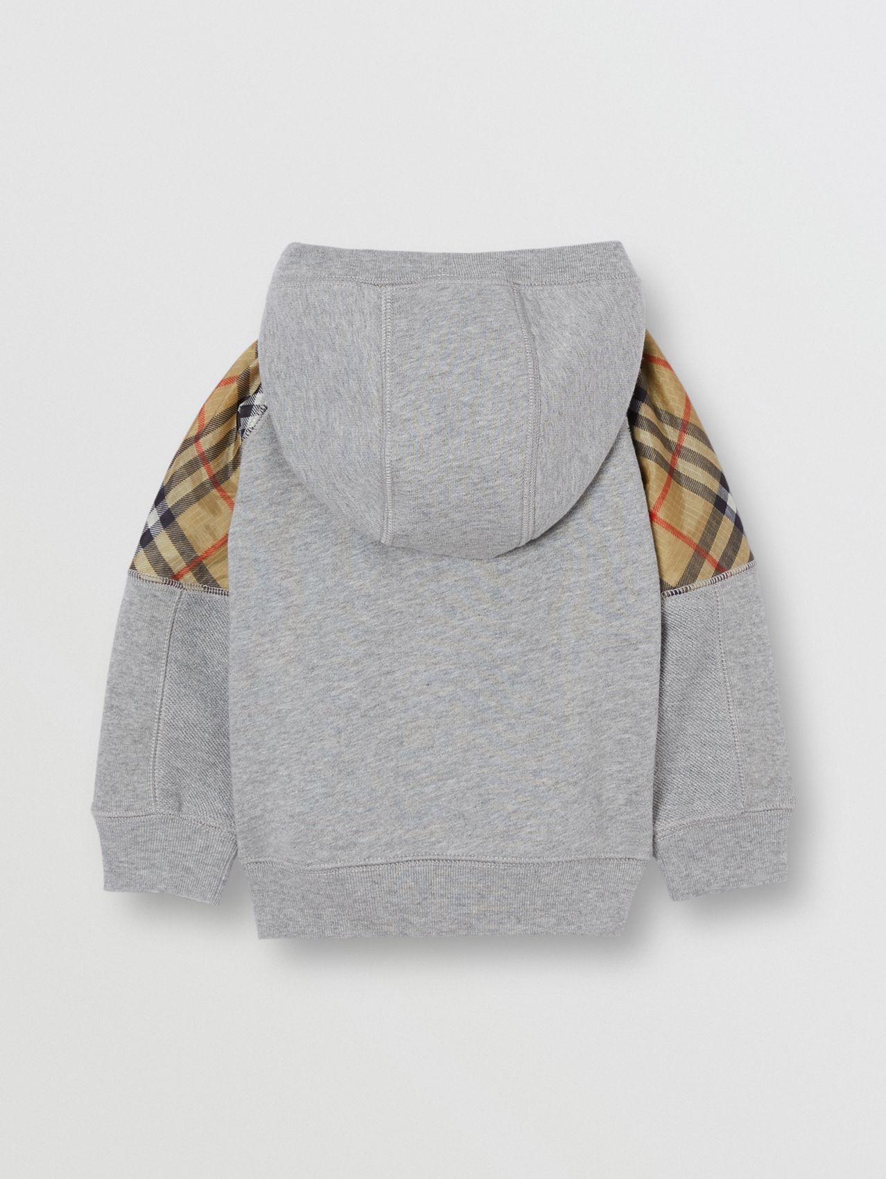 Vintage Check Panel Cotton Hooded Top (Grey Melange)