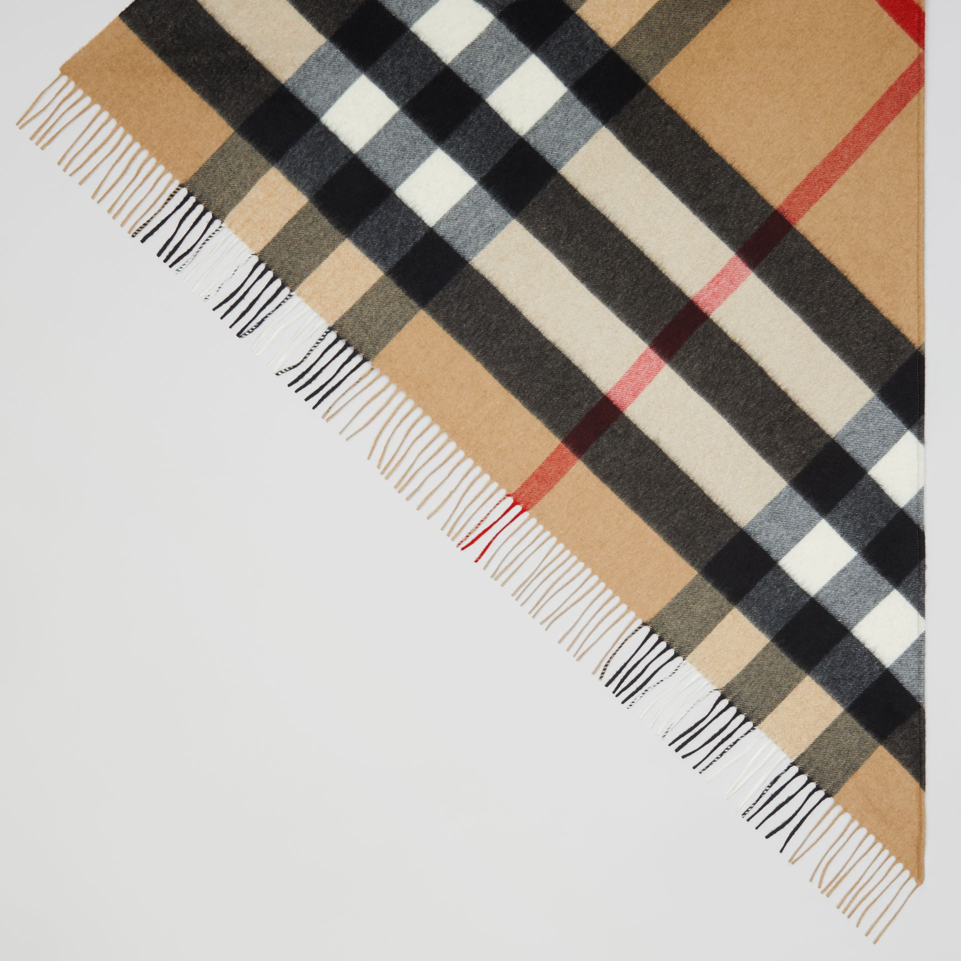 Contrast Logo Graphic Check Cashmere Bandana in Camel | Burberry - gallery image 3
