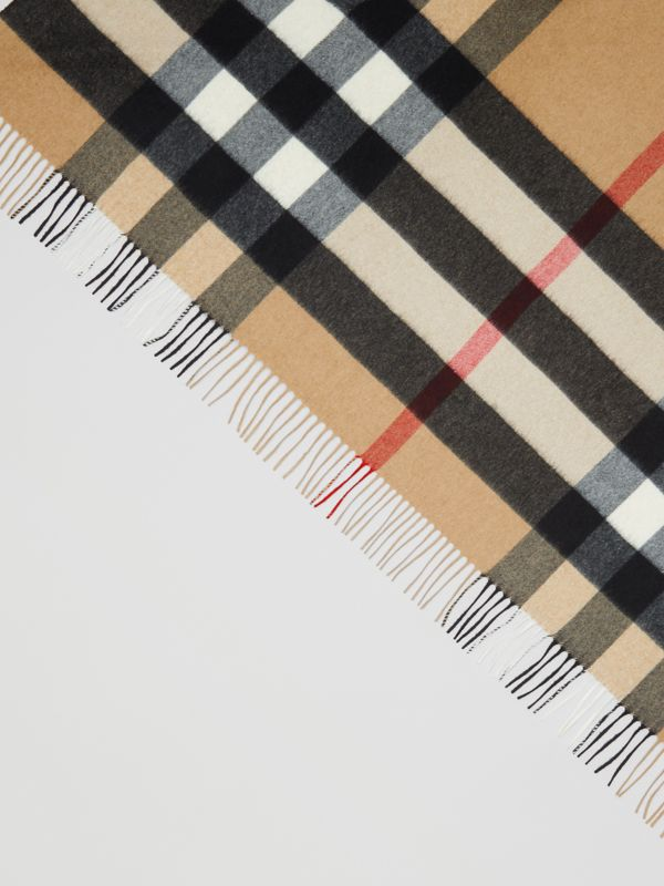 Contrast Logo Graphic Check Cashmere Bandana in Camel | Burberry - cell image 3