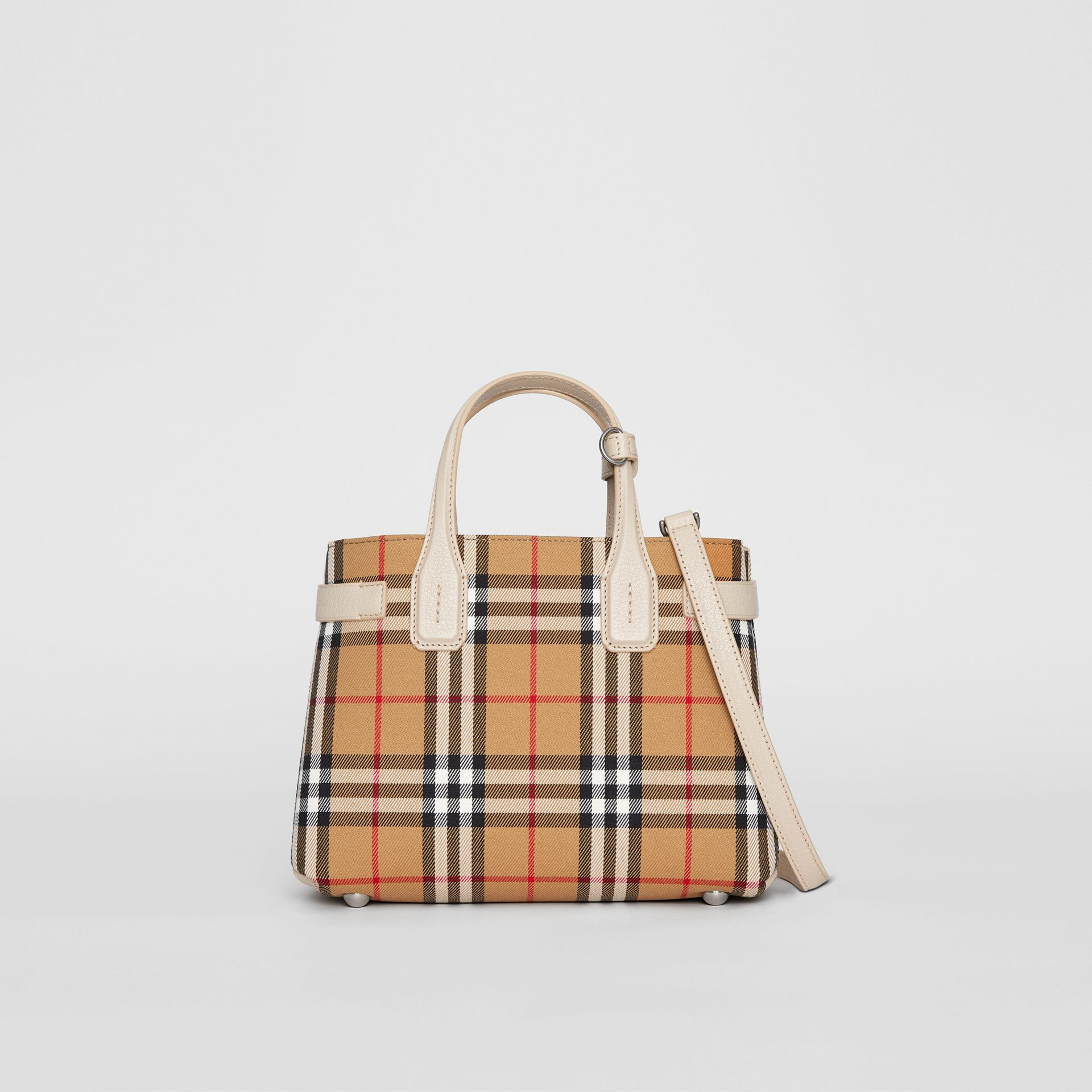 The Small Banner in Vintage Check and Leather in Limestone - Women | Burberry Hong Kong S.A.R - gallery image 6